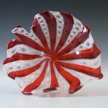 Murano White Zanfirico & Red Filigree Glass Leaf Bowl
