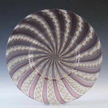 Salviati Murano Zanfirico & Aventurine Purple Glass Plate