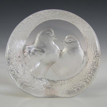 Mats Jonasson #9208 Glass Turtle Doves Paperweight - Signed