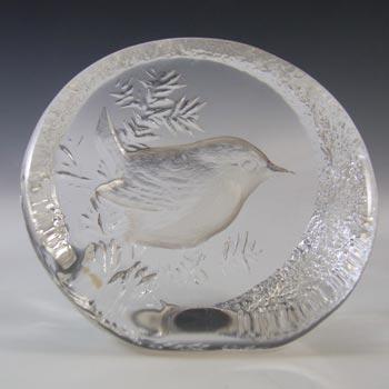 Mats Jonasson #9203 Swedish Glass Wren Bird Paperweight - Boxed