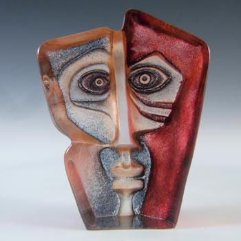 Mats Jonasson #88162 Glass 'Domino' Masqot Face Sculpture - Signed