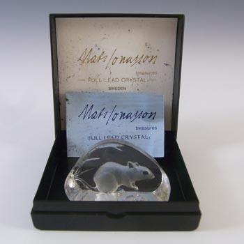 Mats Jonasson Swedish Glass Mouse Paperweight - Boxed