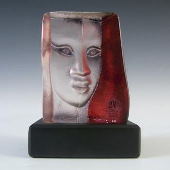Mats Jonasson #88157 Glass 'Mazzai' Masqot Face Sculpture - Signed