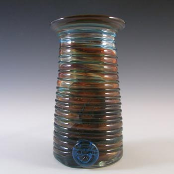 SIGNED Mdina Red & Blue Glass Vase With Maltese Cross