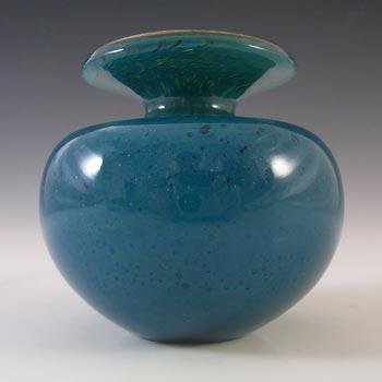 SIGNED Mdina Maltese Blue & Yellow Vintage Glass Squat Vase