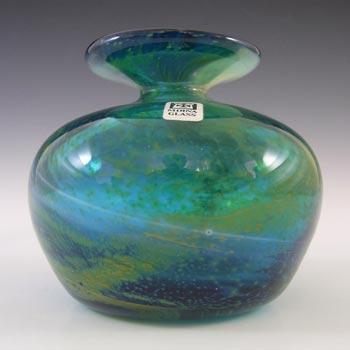 SIGNED Mdina Vintage Blue & Yellow Vintage Glass Vase