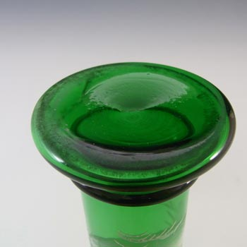 Mary Gregory Bohemian Hand Enamelled Green Glass Vase - Click Image to Close