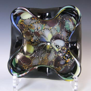 Murano Vintage Silver Leaf & Coloured Murrines Black Glass Bowl
