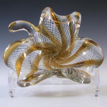 Murano Vintage Amber & White Glass Zanfirico Filigree Bowl/Ashtray