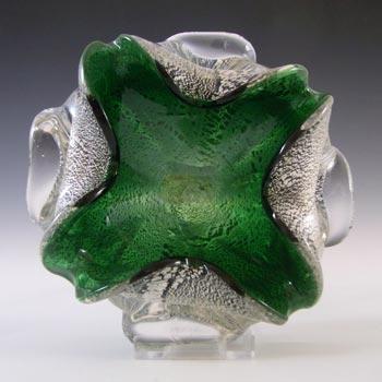Murano/Venetian Vintage Silver Leaf Green Cased Glass Bowl