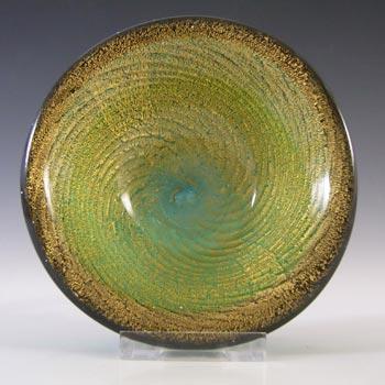 Murano/Venetian Spiral Gold Leaf Green Cased Glass Bowl