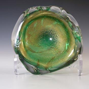 Murano/Venetian Vintage Gold Leaf Green Cased Glass Bowl
