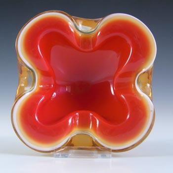 Barbini Murano Red, White & Amber Glass Biomorphic Bowl