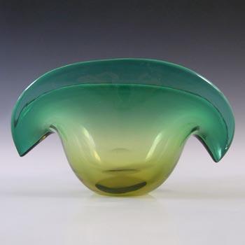 Seguso Dalla Venezia Murano Green Glass Clam Bowl/Vase