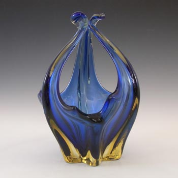 Cristallo Venezia CCC Murano Blue & Amber Sommerso Glass Bowl