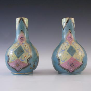 Harrach Pair of Victorian Hand Painted/Enamelled 'Moroccan Ware' Glass Vases