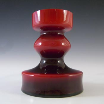 Polish Red Cased Hooped Glass Vase - Swedish Style