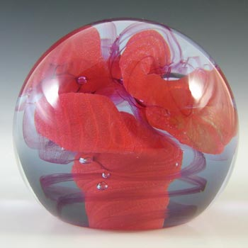 MARKED Caithness Vintage Red Glass 'Crucible' Paperweight