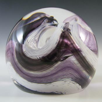 MARKED Caithness Vintage Purple Glass 'Extravaganza' Paperweight