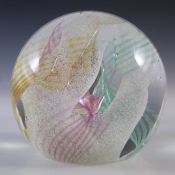 MARKED Caithness Scottish Green & Pink Glass 'Daydreams' Paperweight