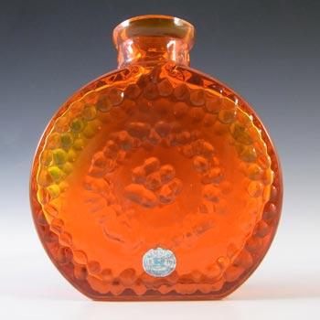 LABELLED Reijmyre Swedish Orange Textured Glass Bottle Vase