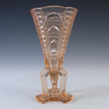 Rosice #1948 Czech Art Deco Pink Glass Rocket Vase