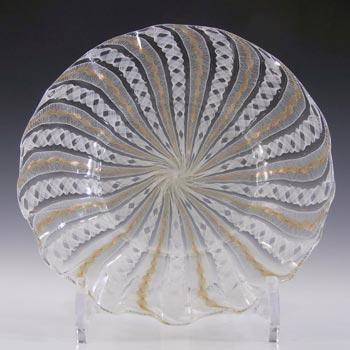 Salviati Murano Zanfirico & Aventurine Green & White Glass Plate