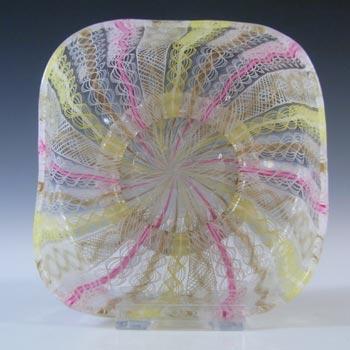 Salviati Murano Zanfirico & Aventurine Yellow & Pink Glass Finger Bowl