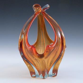 Cristallo Venezia CCC Murano Red & Blue Sommerso Glass Bowl