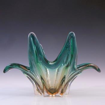 Cristallo Venezia CCC Murano Turquoise & Amber Sommerso Glass Bowl