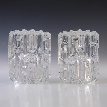 Sklo Union Rudolfova Hut Glass Candlesticks by Frantisek Vizner