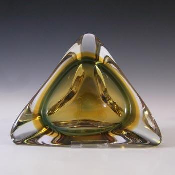 Murano/Venetian Green & Amber Sommerso Biomorphic Glass Bowl