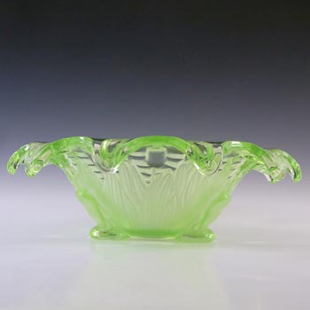 Sowerby Art Deco Uranium Green Glass 'Frog + Bullrush' Bowl