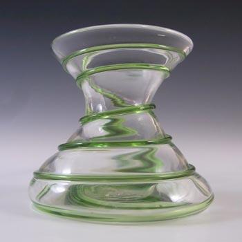 Stuart & Sons Victorian British Glass Green Trails Vintage Vase