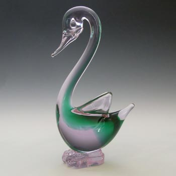 Murano Green & Lilac / Blue Neodymium Sommerso Glass Swan Figurine