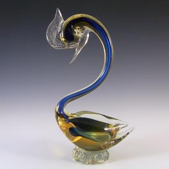 Murano Blue & Amber Sommerso Glass Swan Figurine
