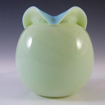 Victorian Uranium Custard Glass Blue Rose Bowl / Posy Vase