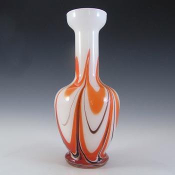 V.B. Opaline Florence Empoli Vintage Orange & Black Glass Vase