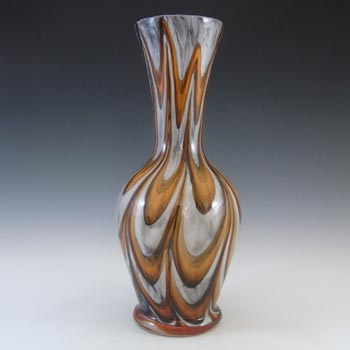 V.B. Opaline Florence Empoli Marbled Orange & Black Glass Vase