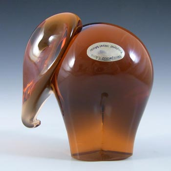 LABELLED Wedgwood Topaz Glass Elephant Paperweight RSW409