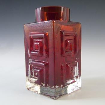 Whitefriars #9815 Baxter Ruby Red Glass Greek Key Vase