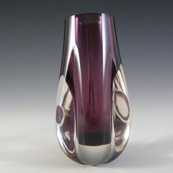 Whitefriars #9727 Baxter Aubergine Purple Glass Lobed Vase