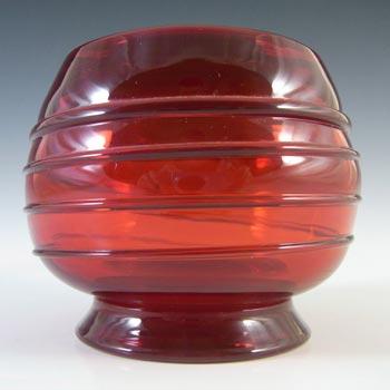 Whitefriars #9366 Vintage Ruby Red Glass Ribbon Trail Bowl