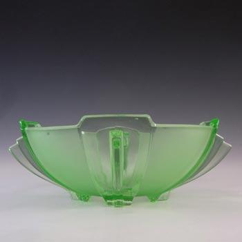 Stölzle #19279 Czech Art Deco Uranium Green Glass Bowl