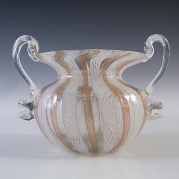 Murano Zanfirico & Copper Aventurine Glass Bowl / Vase