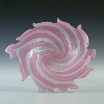 Murano Pink & White Zanfirico Filigree Glass Leaf Bowl