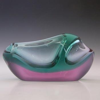 Zelezny Brod Sklo Turquoise & Pink Glass Vase by Miloslav Klinger