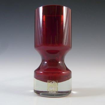 LABELLED Alsterfors Vintage Scandinavian Red Cased Glass Vase