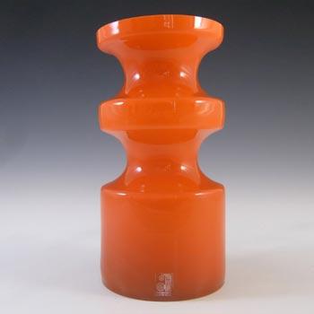 SIGNED Alsterfors/Per Strom Orange Hooped Cased Glass Vase