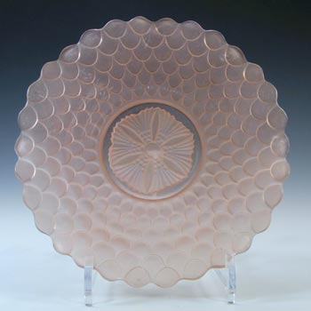 Bagley #3067 Art Deco Pink Glass Fish Scale Plate / Dish